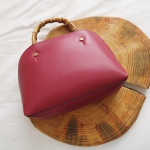 Handbags - Red faux leather wood handle bag